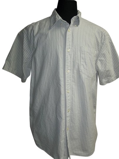 Eddie Baur Eddie Baur, Short Sleeve, Gray/White Pin Stripe Shirt, Size XL