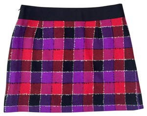 MILLY Woolskirt Skirt Mini Skirt Red, pink, purple, white and black