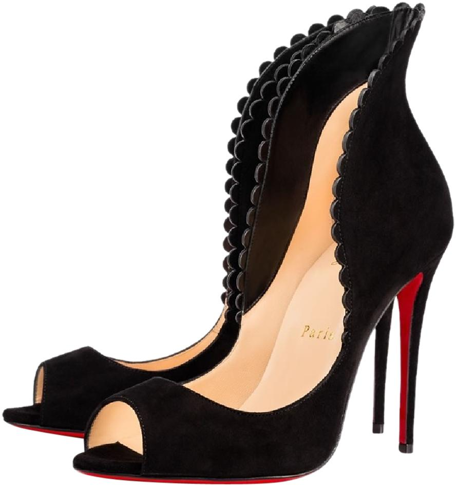 on sale f4059 c16f3 Christian Louboutin Black Pijonina Scalloped Suede Peep Open Toe Pumps Size  EU 37 (Approx. US 7) Regular (M, B) 31% off retail