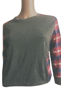 Kin Kin Fashion Xsmall Small Gray Plaid T Shirt
