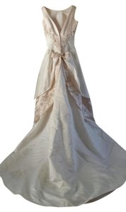 Mon Cheri White with Blush Accents `100%polyester Traditional Wedding Dress Size 12 (L)