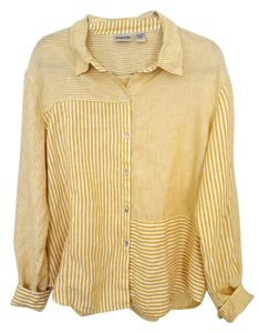 Chico's Linen Button Down Shirt Sunny Yellow