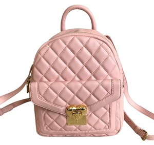 565784fe3d68 Love Moschino Quilted Pink Leather Backpack - Tradesy