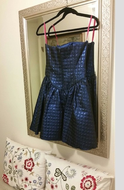 Betsey Johnson Metallic Sweetheart Mini 80's Party Prom Holiday Jacquard Polka Dot Dress