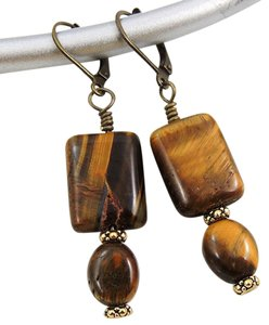 Handmade New Tigers Eye drop earrings