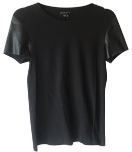 Theory Top Black With Leather Sleeves