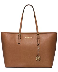 Michael Kors Mk Travel Multifunctional Saffiano Leather Mk Tote in LUGGAGE BROWN/GOLD Hardware