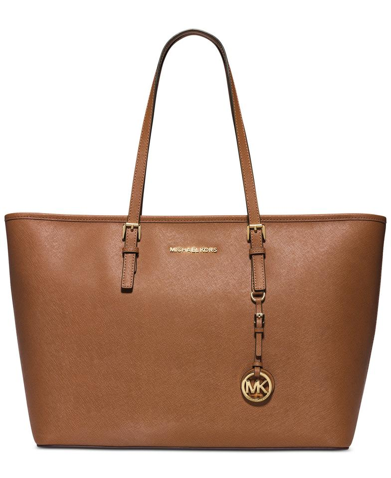 Michael Kors Mk Travel Multifunctional Saffiano Leather Tote In Luggage Brown Gold Hardware