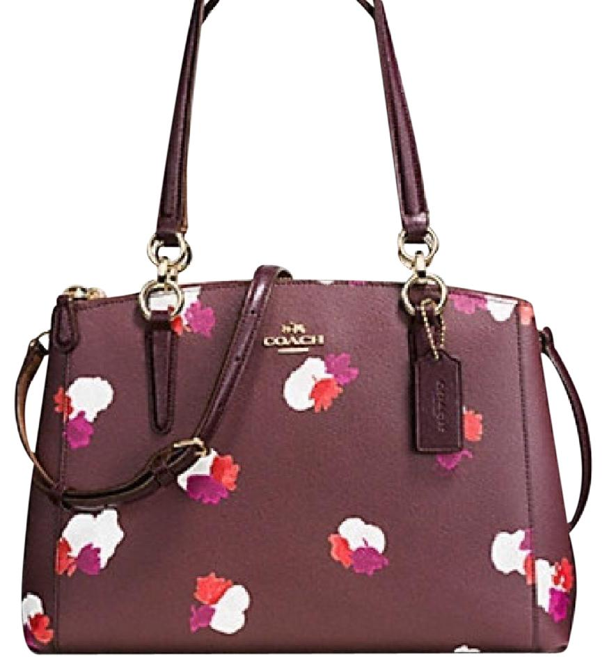 186d8173a7 Coach Christie Small Carryall In Field Flora Print Burgundy Multi Coated  Canvas   Leather Satchel