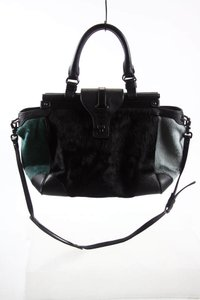 Rafe Calf Hair Cow Hair Dyed Cow Hair Satchel in Green Black Gray