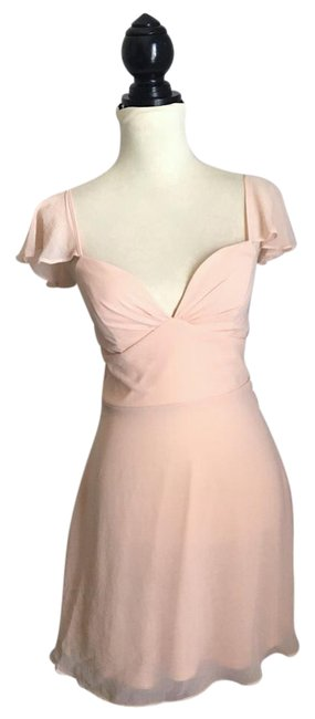 Item - Pink Flutter Sleeves Fit and Flare Short Casual Dress Size 2 (XS)
