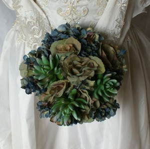 Bluesy Green Silk Succulent and Rose Bride Or Bridesmaid Bouquet