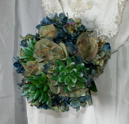 Bluesy Green Silk Succulent and Rose Bride Or Bridesmaid Bouquet Image 1