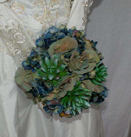 Bluesy Green Silk Succulent and Rose Bride Or Bridesmaid Bouquet Image 2
