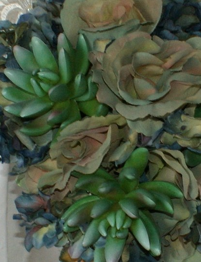 Bluesy Green Silk Succulent and Rose Bride Or Bridesmaid Bouquet Image 4