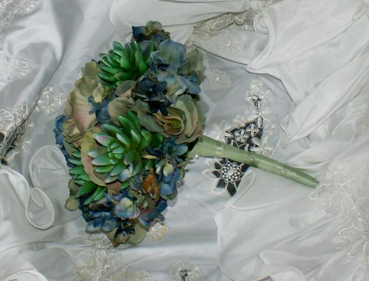 Bluesy Green Silk Succulent and Rose Bride Or Bridesmaid Bouquet Image 5