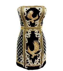 Balmain H&m Beaded Velvet Eagle Kylie Jenner Dress