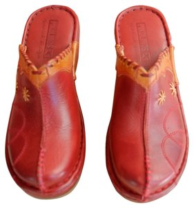 PIKOLINOS Red and Tan Mules
