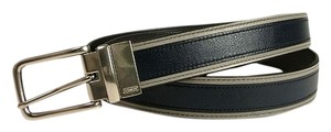 Coach Men's COACH~HERITAGE LEATHER SPORT CUT TO SIZE REVERSIBLE BELT~SL/BLUE