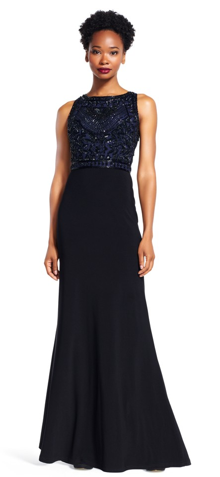 Adrianna Papell Navy/Black Womens Matte Jersey Embellished Evening ...