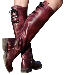 Bed|Stü Manchester Tall Leather Lace Up Scarlet Rustic Boots
