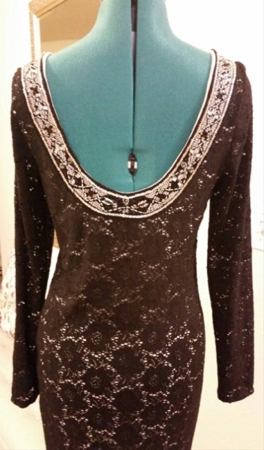 Ralph Lauren Lace Beaded Party Scoop Longsleeve Classic Bodycon Plunge Sparkle Dress