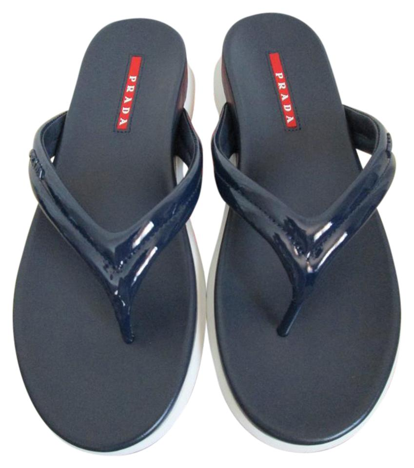 7e178530740ac Prada Navy Blue Patent Leather Logo Flip Flops Sandals Size US 6 ...
