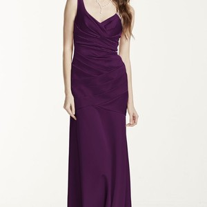 1f18934b69d David s Bridal Plum Satin Floor Length Formal Bridesmaid Mob Dress Size 2  ...