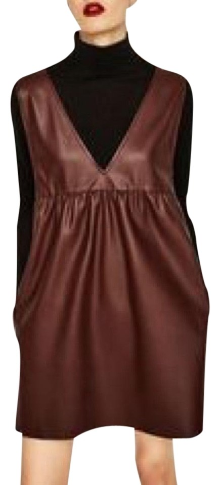 ebbf3e96 Zara Low V-neck Faux Leather Pinafore Short Casual Dress Size 4 (S ...