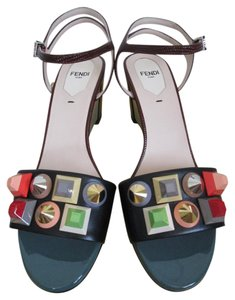Fendi Leather Stud Ankle Strap Multicolor Sandals