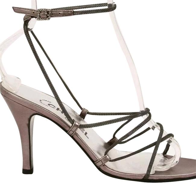 Item - Silver Strappy Chain Cc Open Toe High Heel Formal Shoes Size US 7 Narrow (Aa, N)
