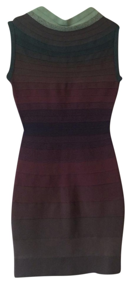 97feff171ec2 Hervé Leger Purple and Green and Grey Mid-length Night Out Dress ...