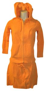 Theory Theory~Orange 2 pc Terry Knit Zip-up Hoodie Sweater Jacket & Mini Skirt SET