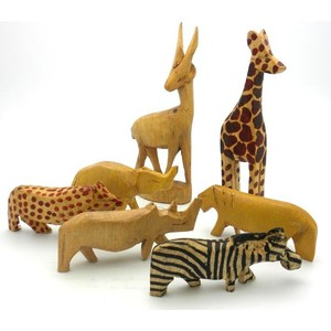 Assorted 7 Miniature Wood Animals Decoration