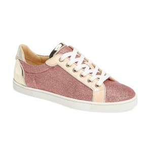 Christian Louboutin Flat Glitter Lace Pink Athletic