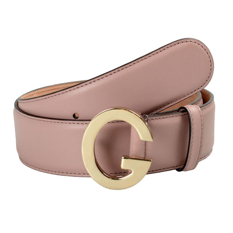 e319434dca4 Gucci Gucci Unisex Pale Pink Buckle Decorated Leather Belt Image 0 ...