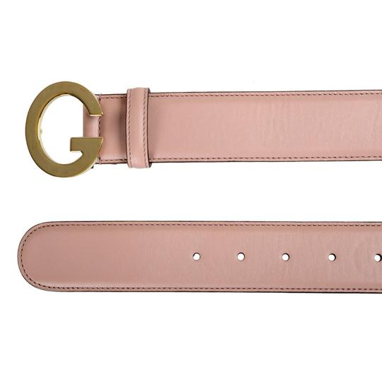 Gucci Gucci Unisex Pale Pink Buckle Decorated Leather Belt Image 1