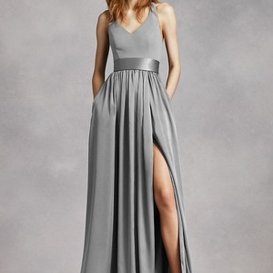 Vera Light Grey Used Once From Cur Collection Modern Bridesmaid Mob Dress Size 4