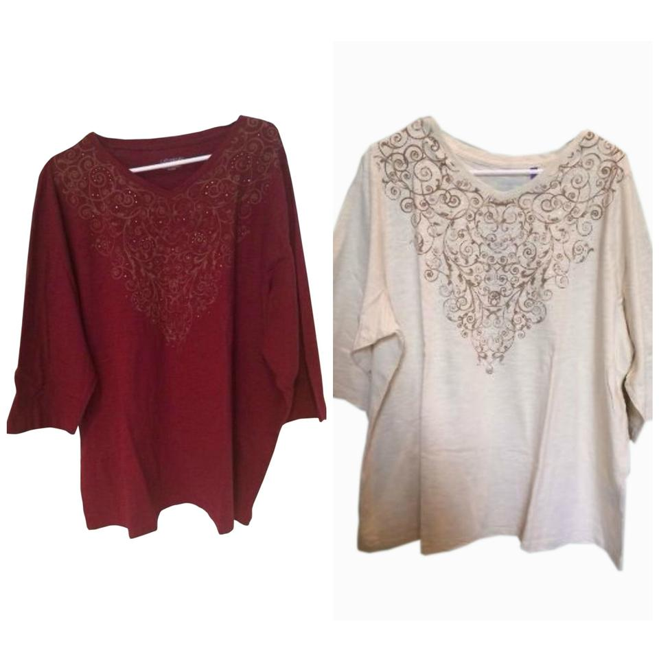 73ad047b0a7 Multi Color Women's Beige Burgundy Embellished Shirt Tunic Blouse ...
