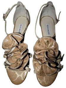 Kelsi Dagger Leather Flats Beach Summer Casual Evening Malibu Night Out Date Night Women Comfortable Floral Faux Snake Skin Python Gold Metallic Sandals