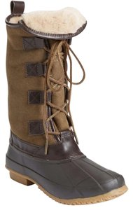 Tory Burch Duck Shearling Leather Waterproof Olive Boots