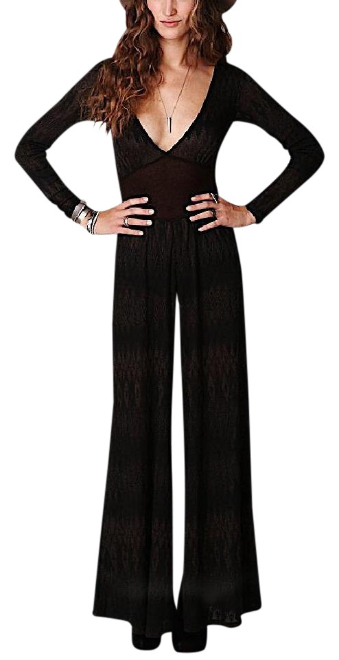 3f79032b7d5 Free People Black Metallic Stretchy Wide Leg Plunge Neck Romper Jumpsuit