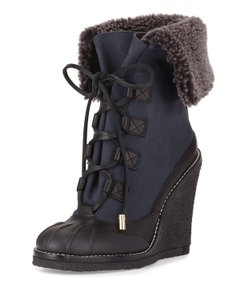 Tory Burch Duck Shearling Waterproof Wedge Blue Boots