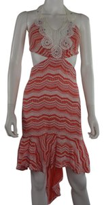 Lisa Nieves short dress salmon / white / turquoise Knit Pencil Stretch Cocktail on Tradesy