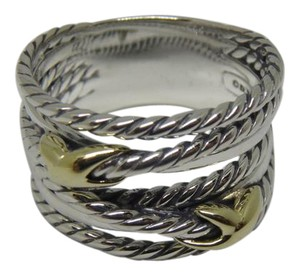 David Yurman like new with pouch Double X Ring With Gold size 9