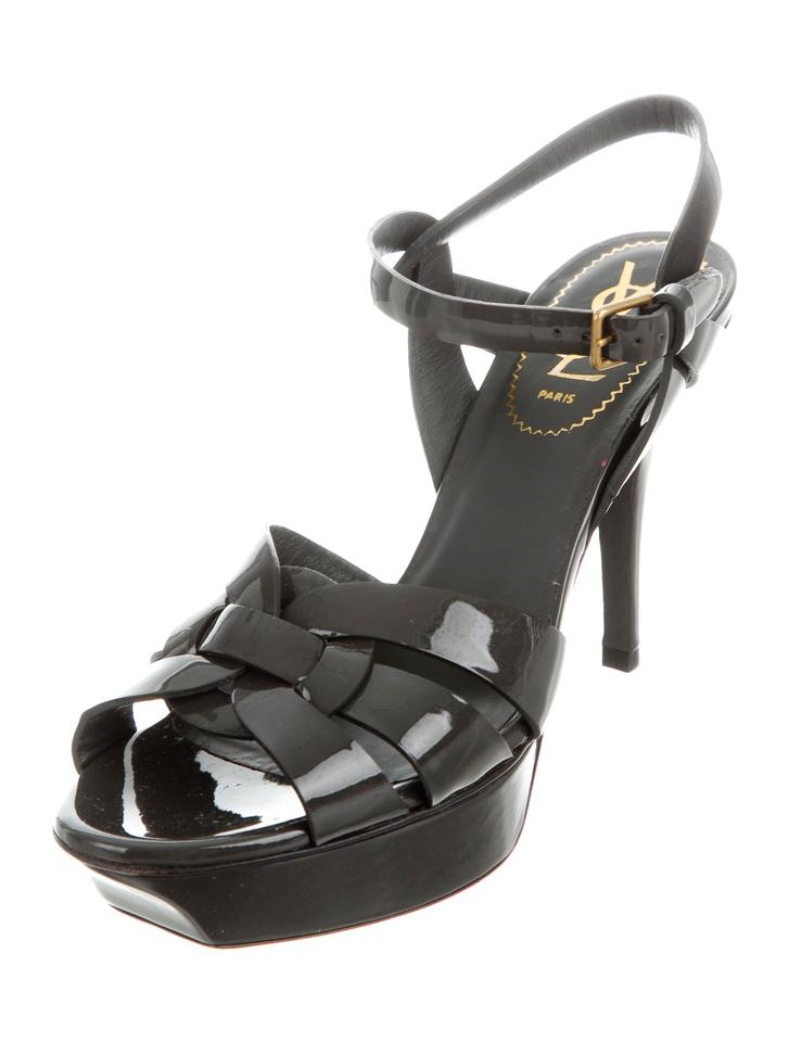 Saint Laurent Tribute Patent Classic 75 Dark Greay Patent Tribute Leather It 37.5 Sandals 776097