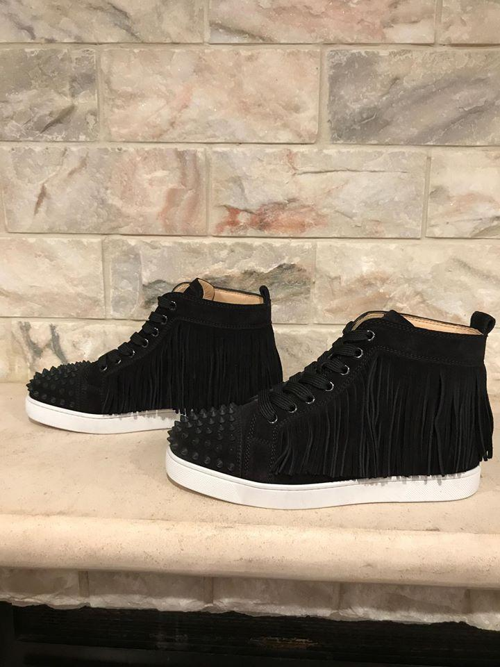 3e716a6af7f Christian Louboutin Black Coachelita Fringe Spike Flat High 36 Sneakers  Size US 6 Regular (M, B) 58% off retail