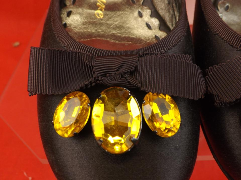 c36d6ef31544 Juicy Couture Brown Satin Paradise Ballet Stones Bow Italy Flats ...