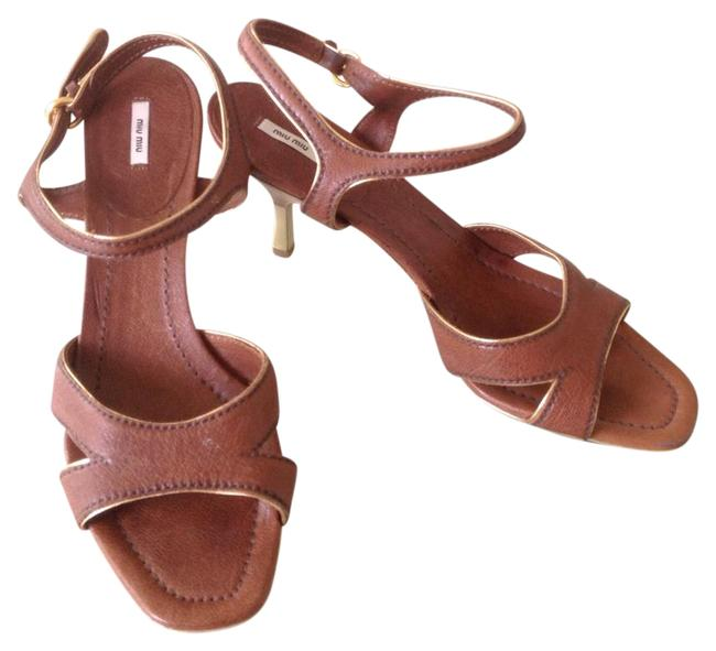 Item - Brown and Gold Leather Strappy Sandals Heels 41 Pumps Size US 11 Regular (M, B)