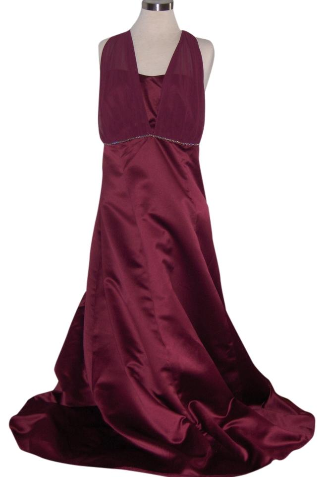 Burgundy Graceful Full Length Evening Gown - String Of Rhinestones ...